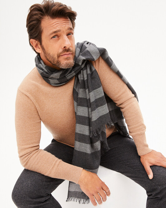 Two-coloured scarf 180 x 85 cm - Charcoal grey/flannel grey