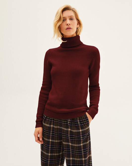 6-ply roll-neck sweater sweater - Dahlia