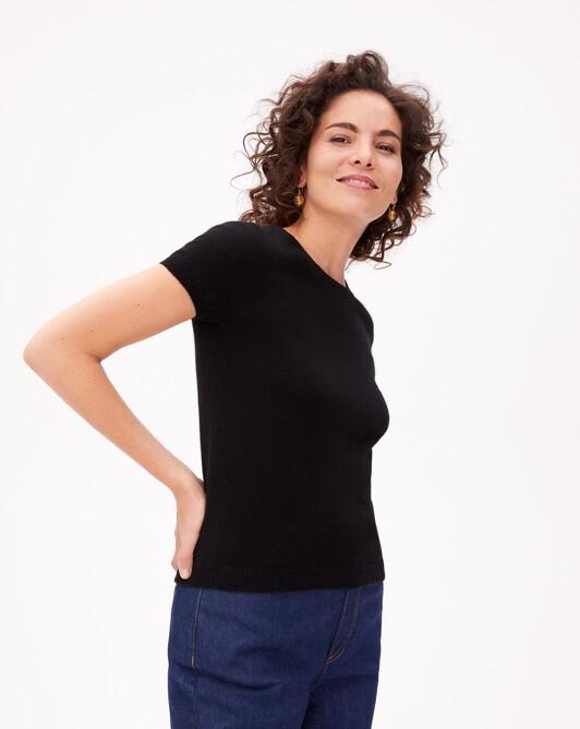Open-back short-sleeved crew neck pullover - Black