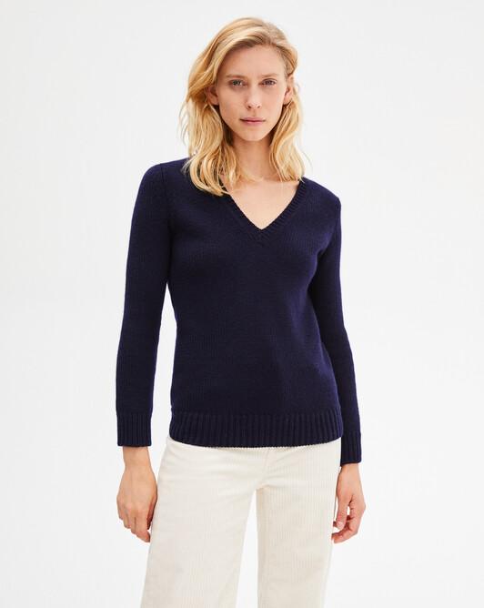 12-ply V-neck sweater - Navy blue