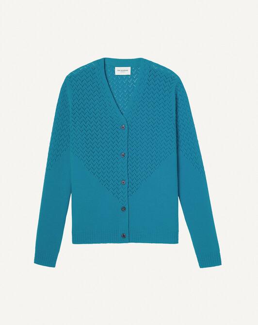 Gilet pointelle zigzag - Bleu arlequin
