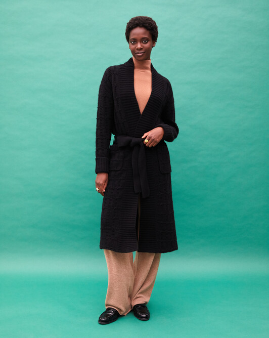 Fancy cable-stitch shawl collar coat - Black