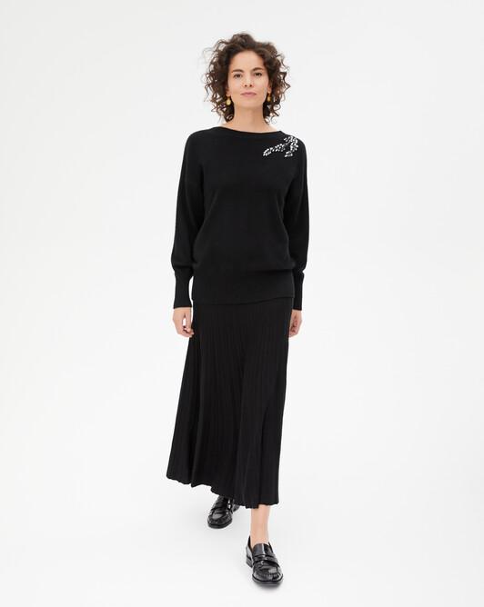 Jupe longue plissée en soie - Noir