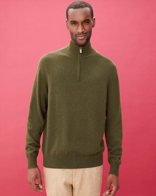 2-ply half-zip pullover - Kale