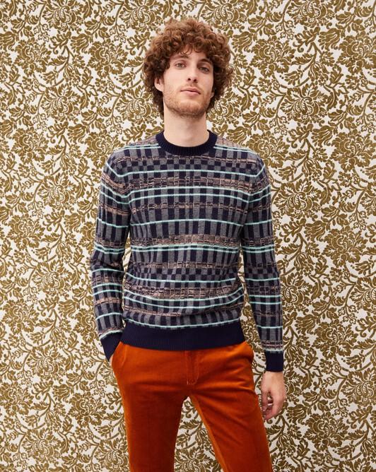 Checkerboard crew neck pullover - Ice mint