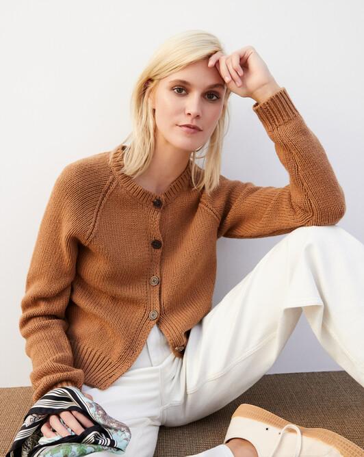 Raglan-sleeved cardigan - Vicuna