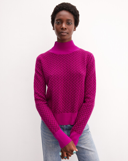 Col montant point bicolore criss-cross - Fuchsia
