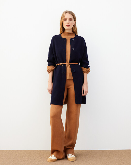 Double jersey loose fit coat - Navy blue/vicuna