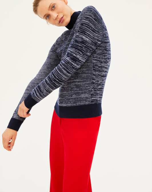 Contrasted marl roll-neck sweater - Marled navy blue
