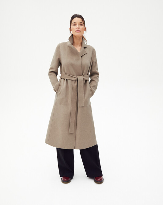 Trench style double face coat - Coriander