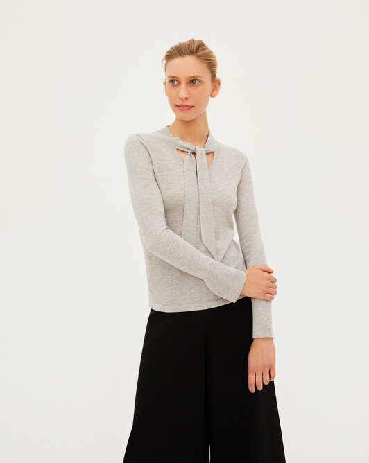 Extrafine tie detail V-neck sweater - Frost grey