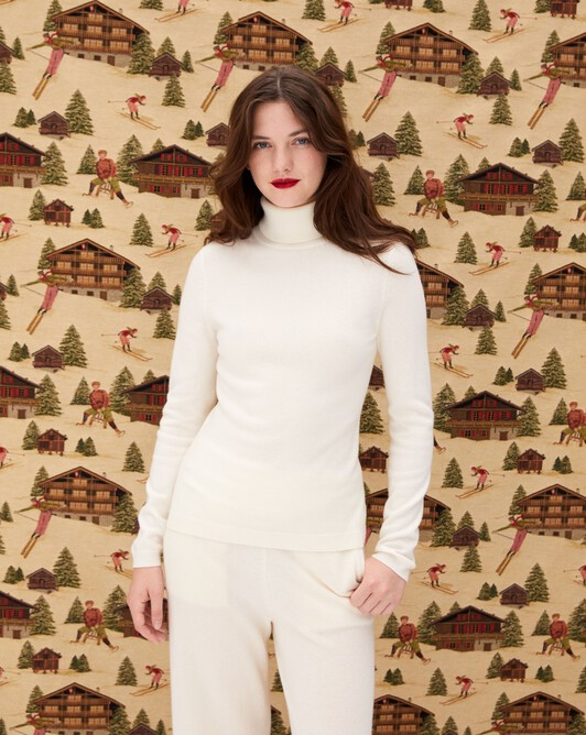Fitted roll-neck - Autumn white