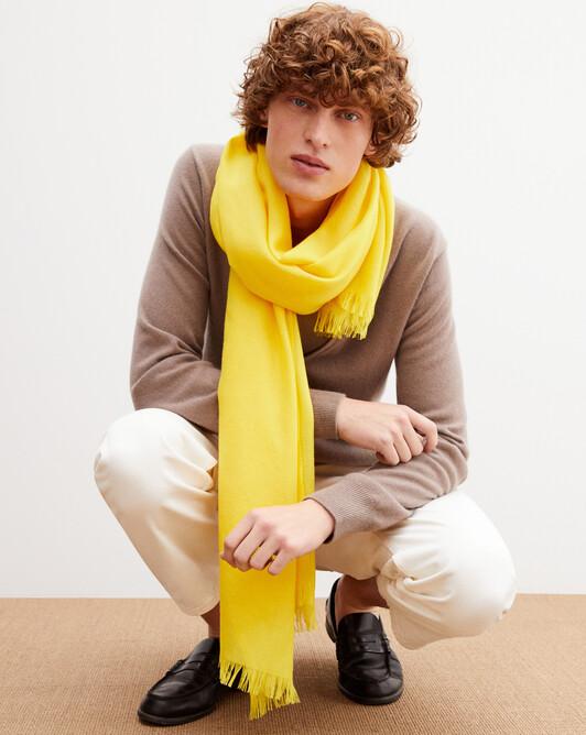 Cashmere voile stole 180 cm x 85 cm - Canari yellow