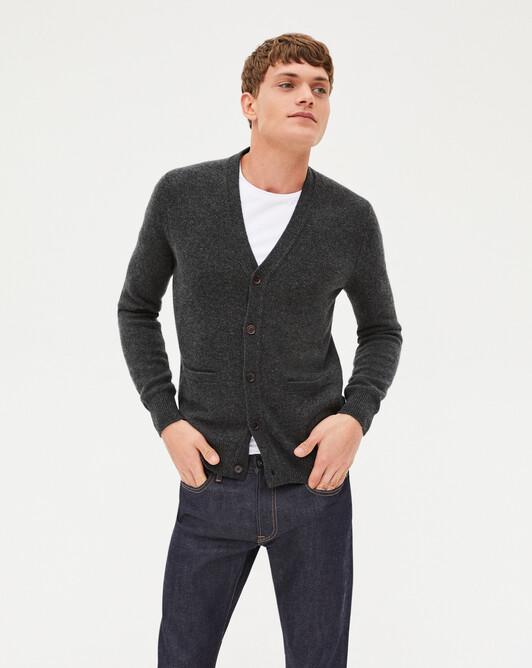 4-ply V-neck cardigan - Charcoal grey