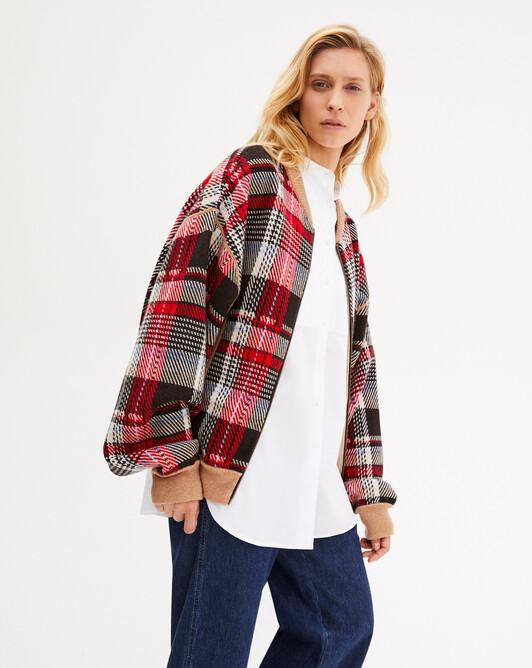 Tartan jacquard zipped bomber jacket - Ebony/ruby red