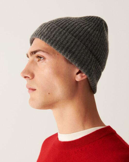 Half cardigan rib hat - College grey
