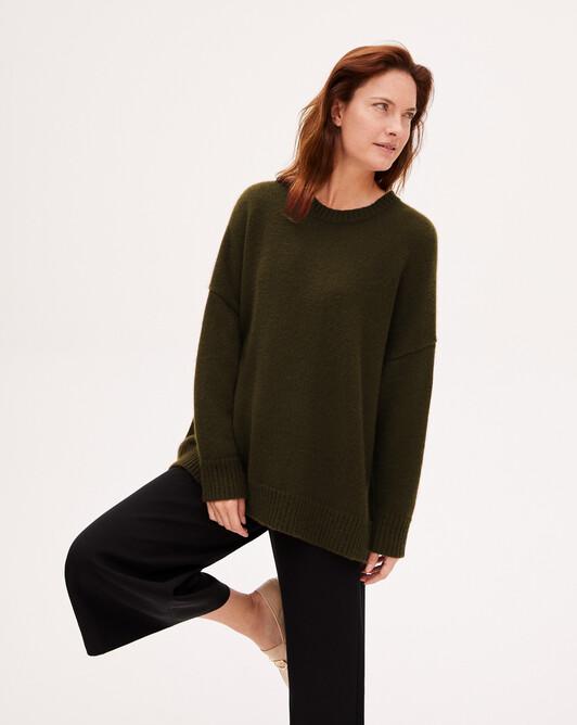 8 ply loose crew-neck sweater - Kale