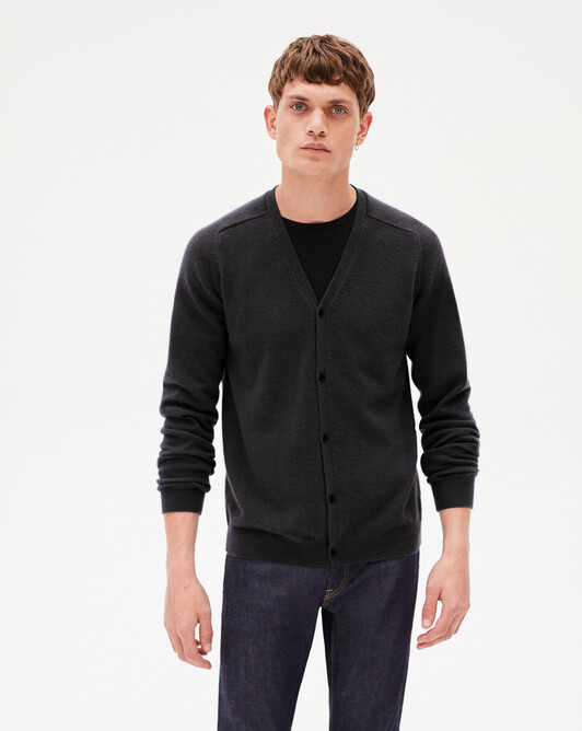 Fitted cardigan with offset shoulders - Charcoal grey