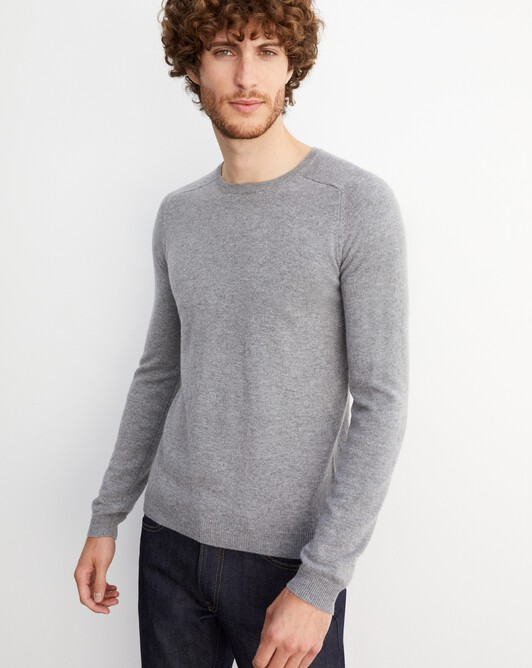 Fitted crew neck pullover with offset shoulders - Flannel grey
