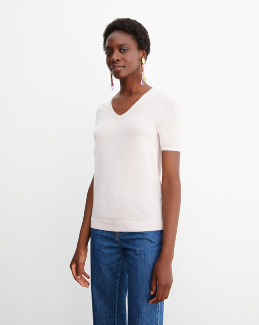 Contemporary extrafine short-sleeved V-neck - Soft pink melange