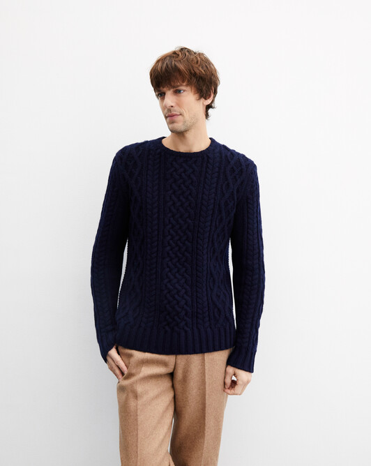 Aran cable-stitch crew neck pullover - Navy blue