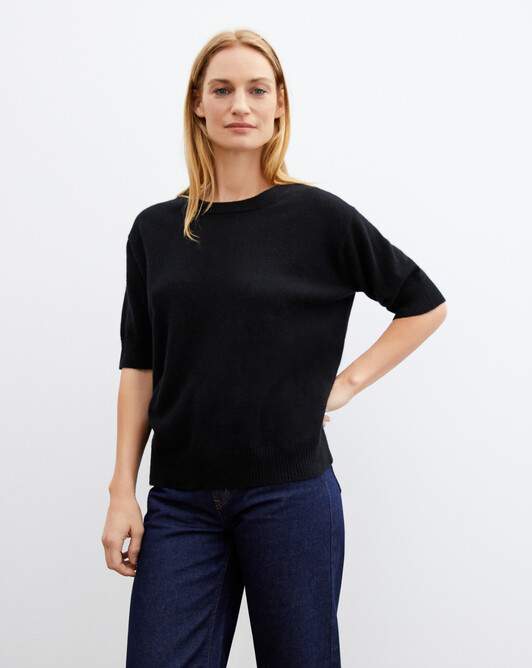 Contemporary short-sleeved maxi crew neck pullover - Black