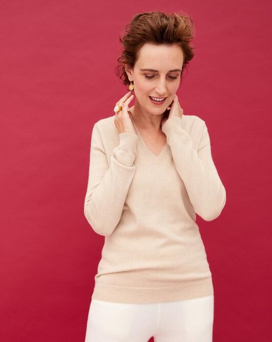 Classic V-neck pullover - Nougat