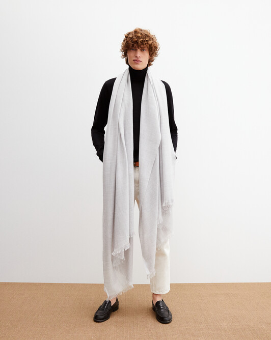 Giant cashmere voile stole 250 cm x 120 cm - Frost grey
