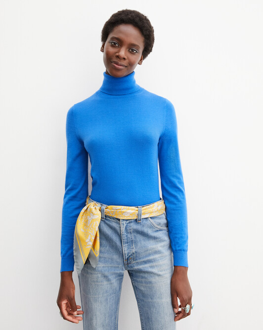 Contemporary extrafine roll-neck pullover - Cobalt