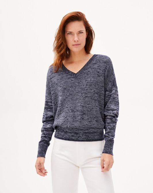 Contrasted marl V-neck sweater - Marled navy blue