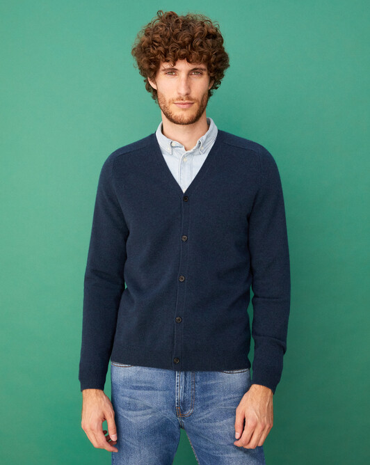 Fitted cardigan with offset shoulders - Graphite blue
