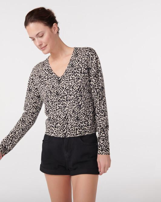 Pull V mini léopard - Tourterelle