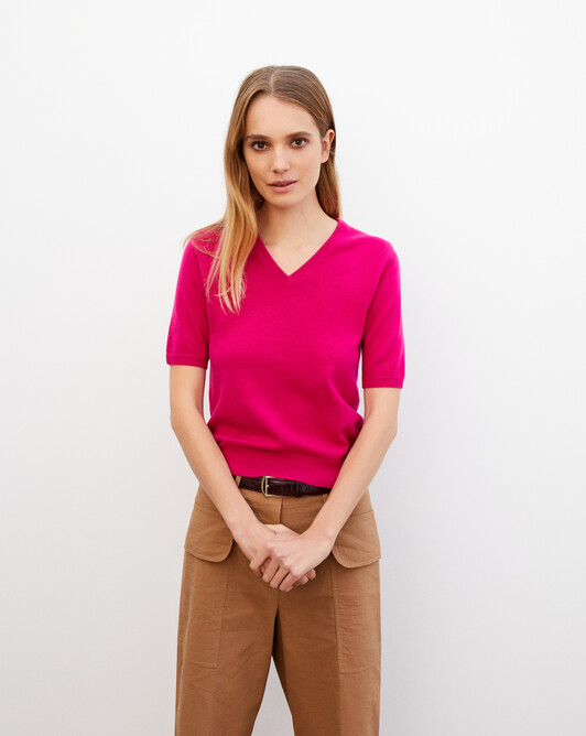 Timeless short-sleeved V-neck pullover - Heat