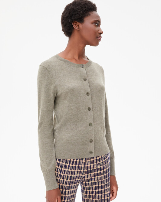 Cardigan ultrafin contemporain - Kaki