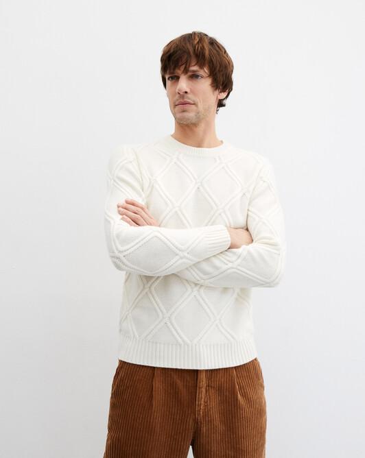 Diamond cable-stitch crew neck pullover - Autumn white