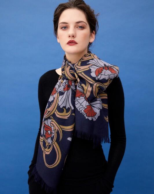 Petunia print stole 180 cm x 85 cm - Navy blue