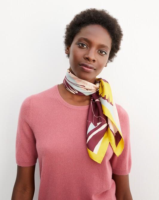 Nomad garden print silk square scarf 65 cm x 65 cm - Azuki