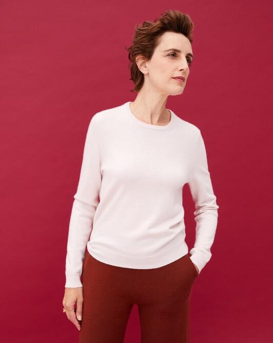 Classic crew neck pullover - Soft pink melange