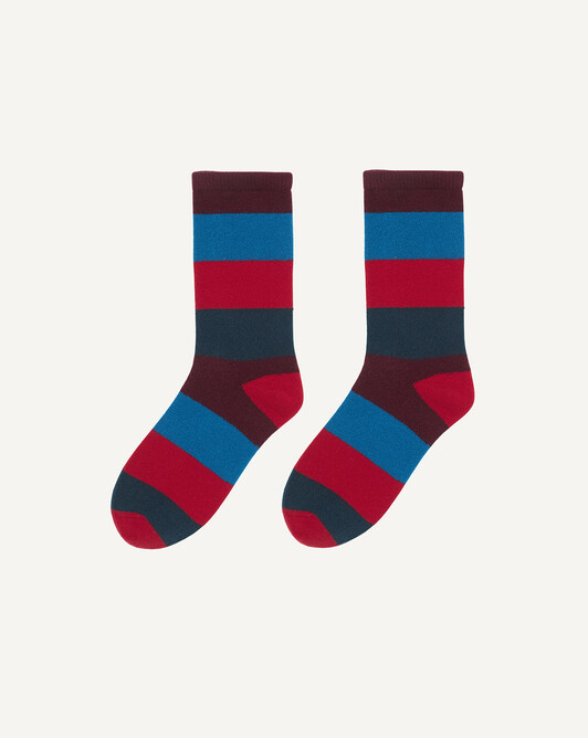 Chaussettes rayures multicolores - Petrole/rubis/tropique/dahlia
