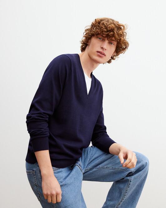 Summer V-neck pullover - Navy blue