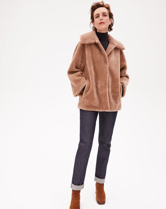 Manteau col large fourrure de laine - Camel