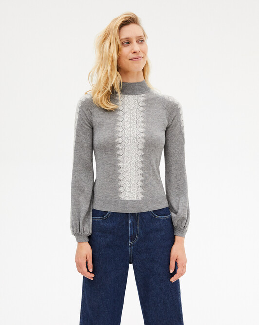 Extrafine jacquard lace knit turtleneck sweater sweater - Flannel grey