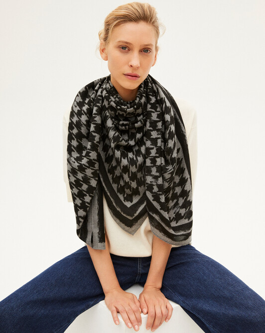 Houndstooth square scarf - Flannel grey