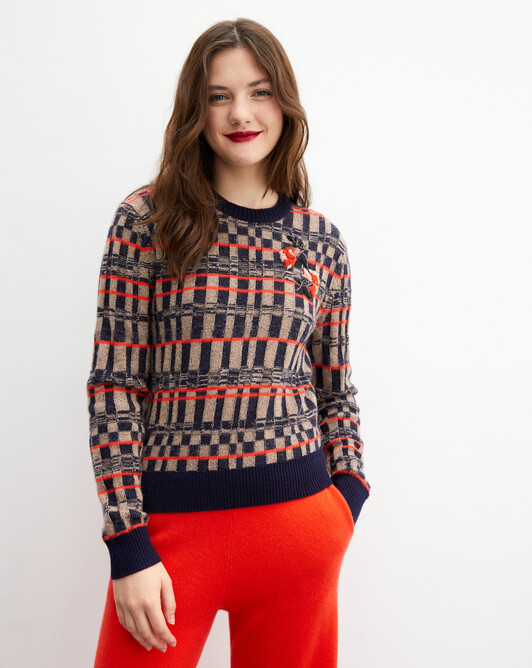 Embroidered checkerboard crew neck pullover - Lipstick