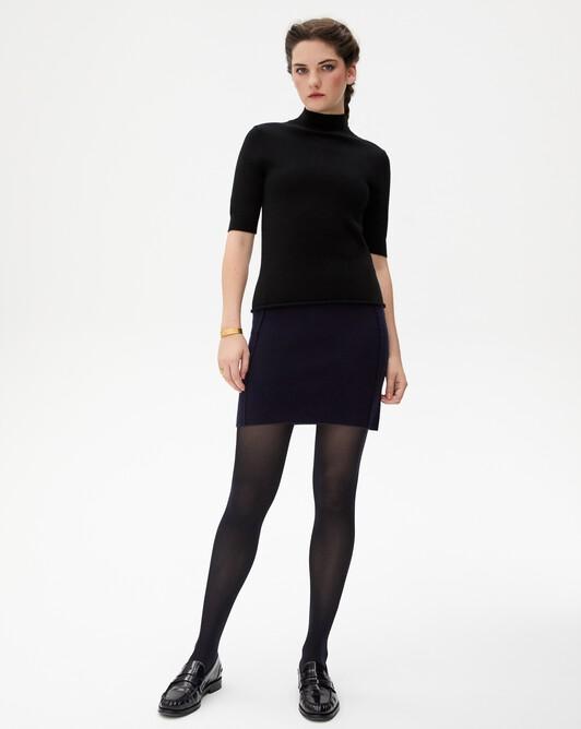 Cashmere milano short skirt - Navy blue