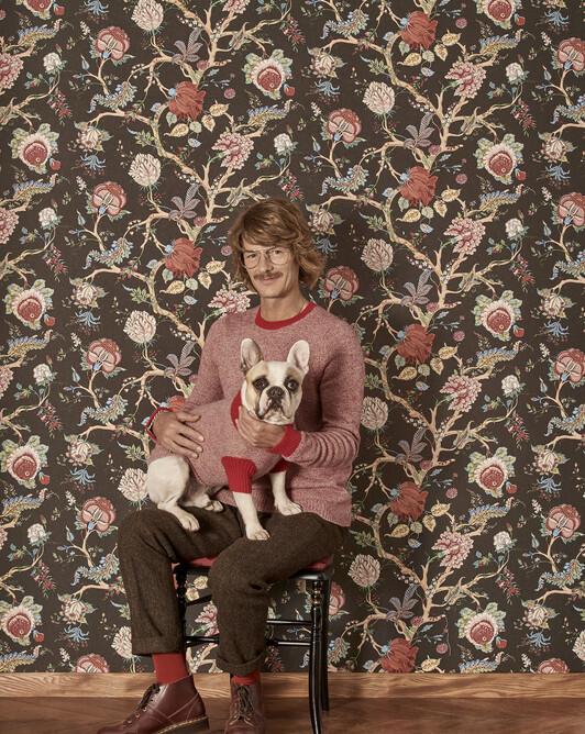 Pull canin mouliné finitions contrastées - Camel/rubis