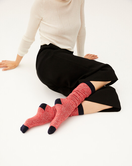 Two-coloured marl long socks - Ruby red/canvas/navy blue