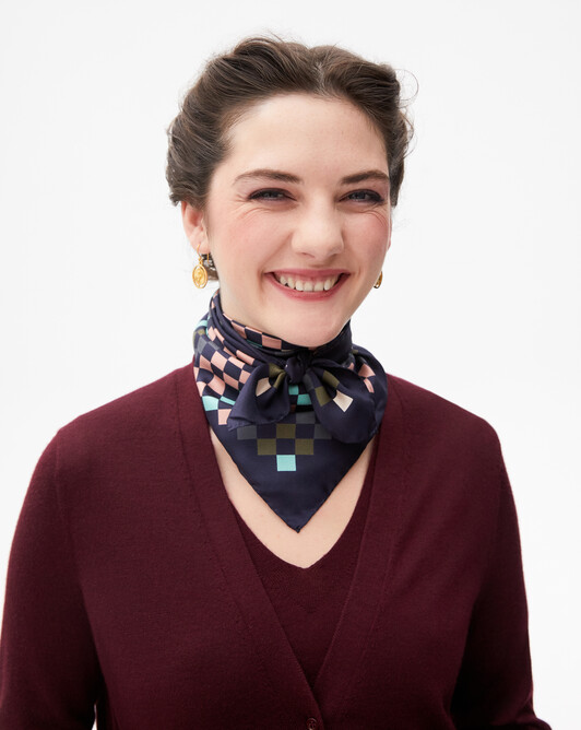 Multicoloured diamond print silk square scarf 70 cm x 70 cm - Navy blue