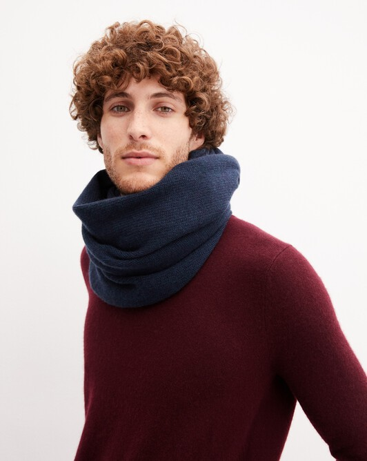 Knitted tube collar - Graphite blue