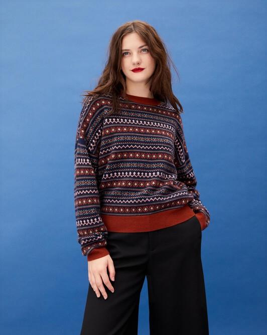 Fair isle jacquard oversized crew neck pullover - Chestnut
